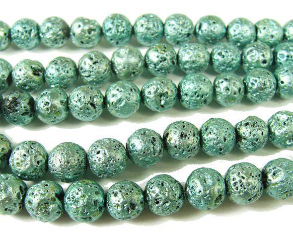 8mm Light turquoise blue metallic lava round beads