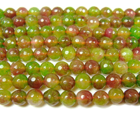6mm Green and red jade faceted round beads