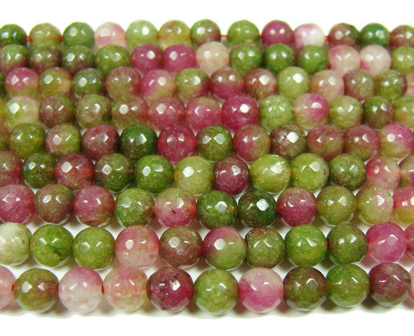 6mm Green and ruby jade faceted round beads