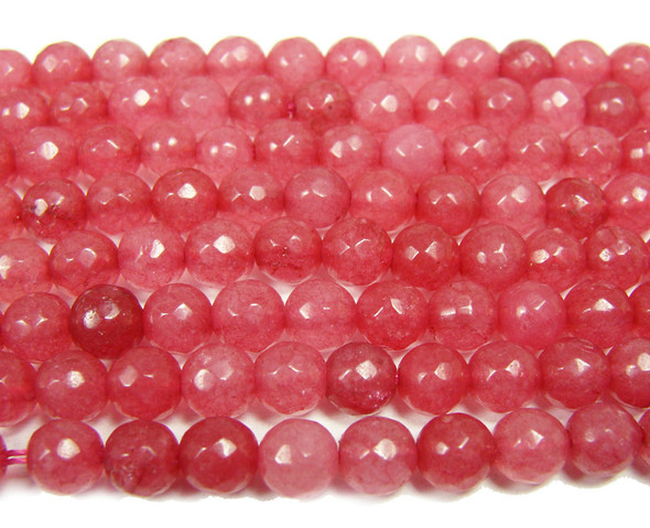 6mm Punch red jade faceted round beads