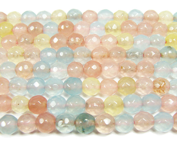 6mm Light multi color jade faceted round