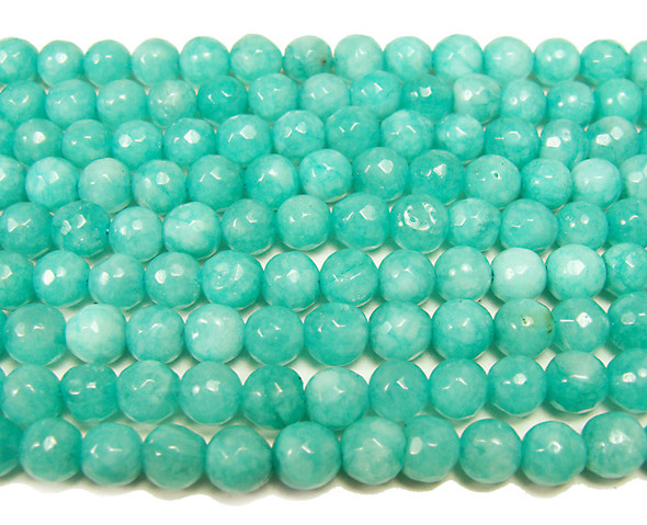 6mm Dark sea green jade faceted round