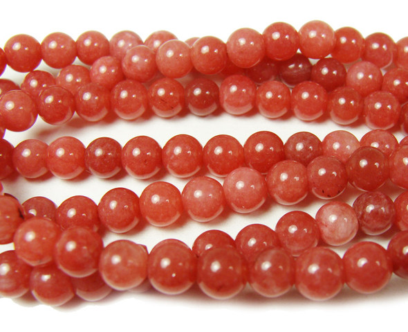 6mm Punch red jade smooth round beads
