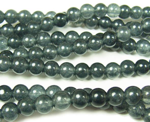 6mm Dark gray jade smooth round beads