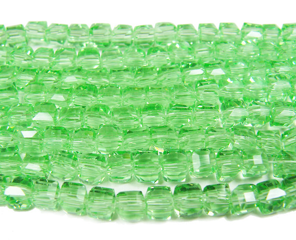 4x4mm  100 beads Mint green glass cube beads