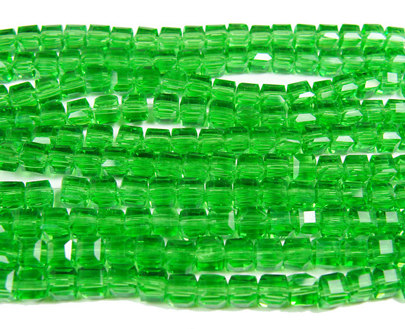4x4mm 100 Beads Green Glass Cube Beads