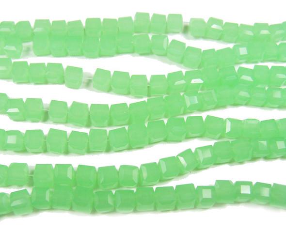 4x4mm  100 beads Foliage green glass cube beads