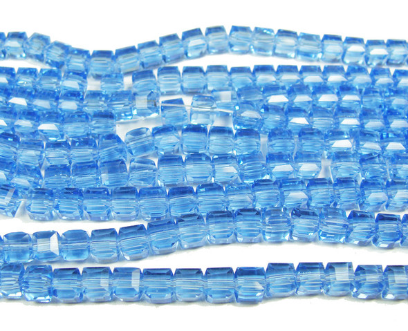 4x4mm 100 Beads Sky Blue Glass Cube Beads