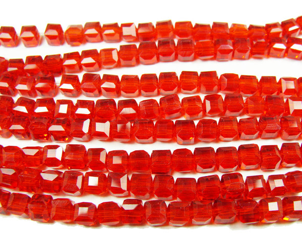 4x4mm 100 Beads Red Glass Cube Beads