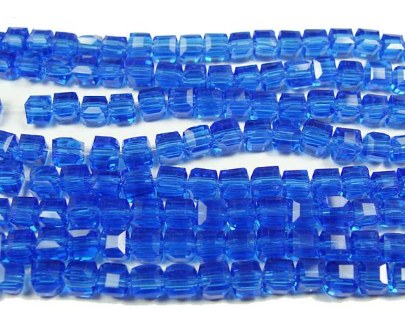 4x4mm  100 beads Sapphire blue glass cube beads