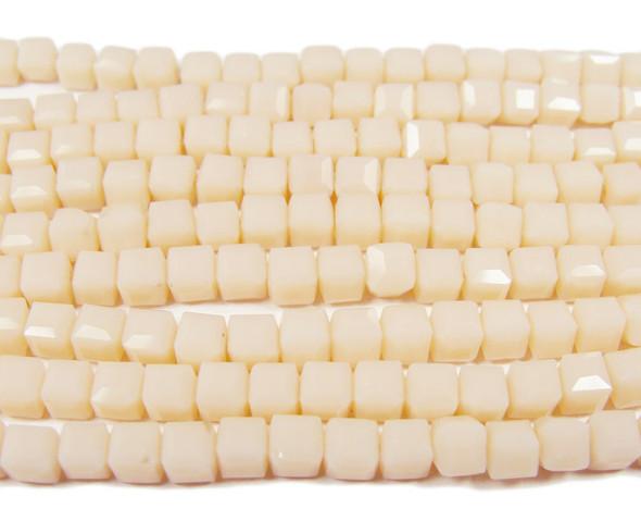 4x4mm  100 beads Vanilla glass cube beads