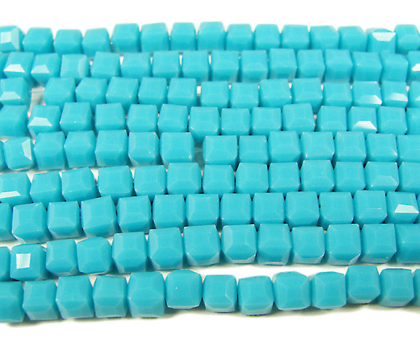 4x4mm 100 Beads Turquoise Blue Glass Cube Beads