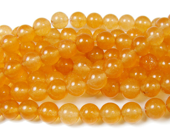 8mm Peach red jade smooth round beads