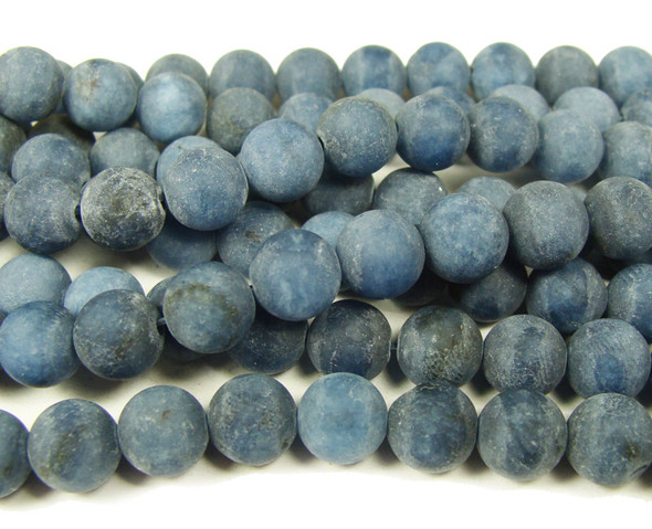 8mm 15.5 Inches Dark Grayish Blue Jade Matte Round Beads