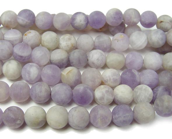 8mm Lavender Amethyst Matte Round Beads