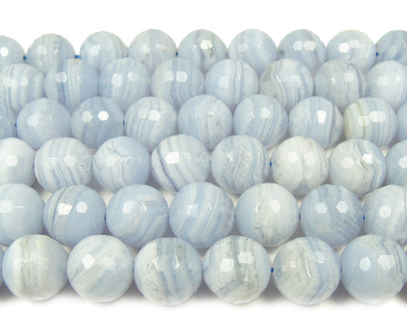 12mm  Blue lace agate faceted round beads