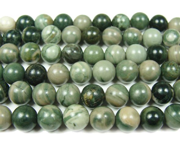 """10mm 15.5"""" Green Serpentine Round Beads"""
