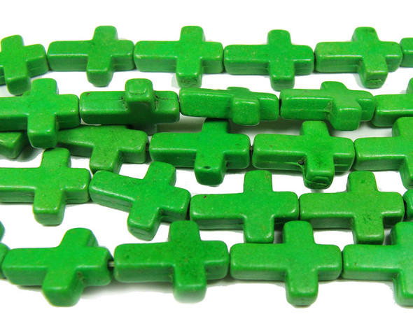 "12x15mm  16"" Grassy green howlite cross beads"