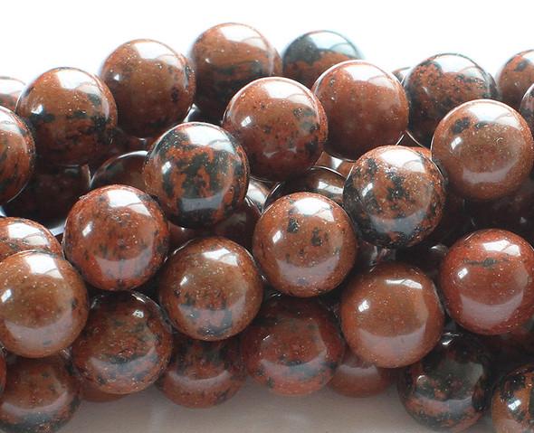 12mm Mahogany obsidian round beads