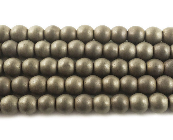 6mm Iron Gray Hematite Matte Round Beads