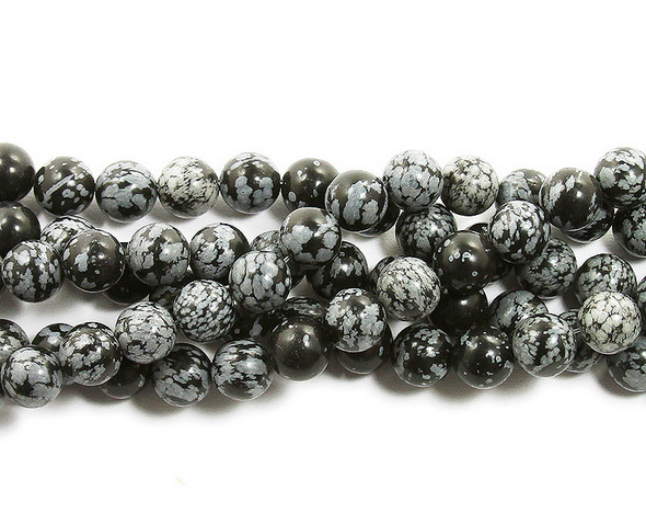 12mm Snowflake Obsidian Smooth Round Beads