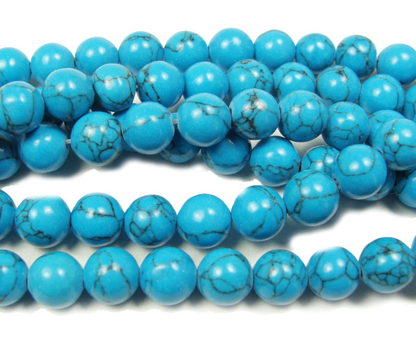 Blue turquoise howlite round with matrix