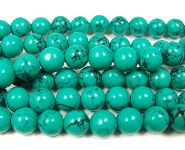 Green turquoise howlite round with matrix