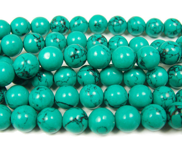 Green turquoise howlite round with matrix