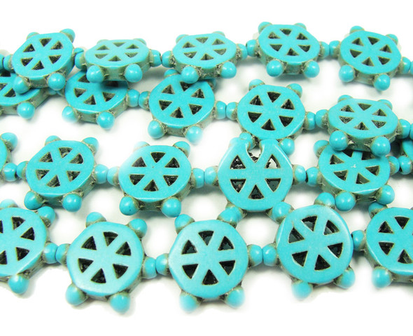 16mm 15.5 Inches Turquoise Howlite Steering Wheels