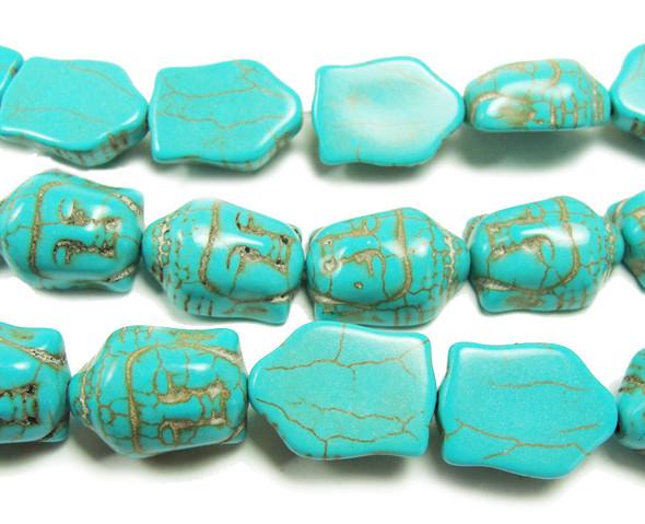 15x20mm  20 beads Turquoise howlite Kuan-Yin beads