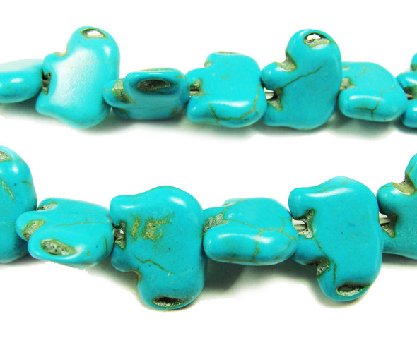 "14x18mm  15.5"" Turquoise howlite elephant beads"