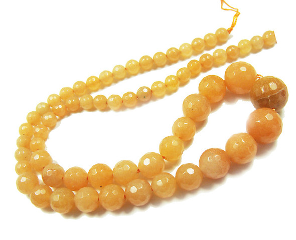 6-14mm Red aventurine faceted graduated round beads