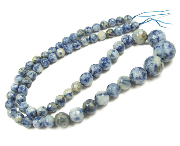 6-14mm Denim Lapis faceted graduated round beads