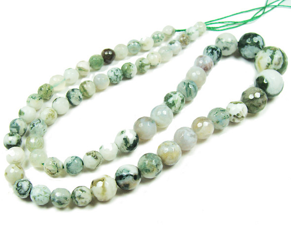 6-14mm Tree Agate Faceted Graduated Round Beads