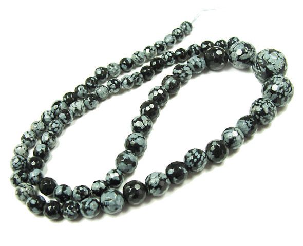 6-14mm Snowflake Obsidian Faceted Graduated Round Beads