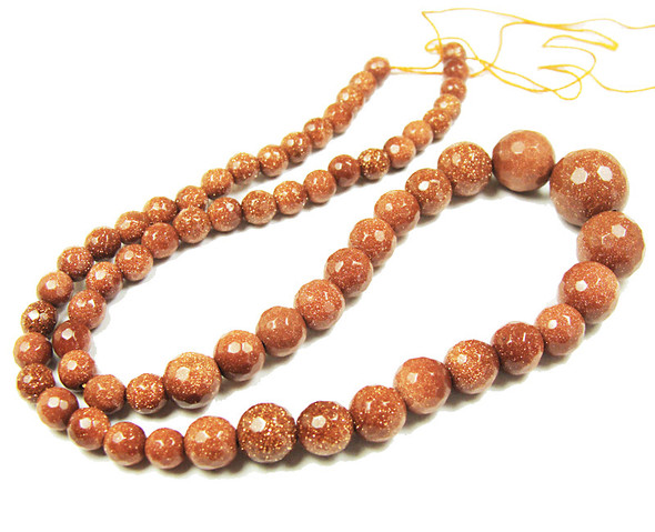 brown faceted graduated round beads 6-14mm Goldstone  faceted graduated round beads