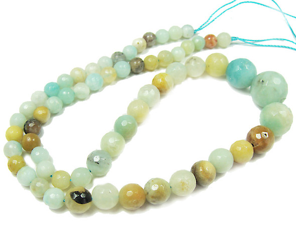 6-14mm Multi amazonite faceted graduated round beads