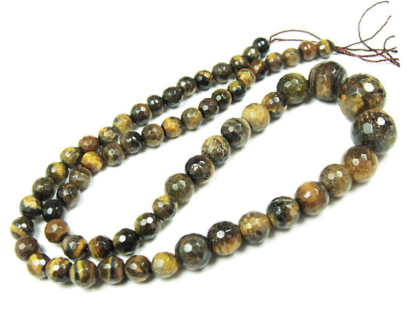 6-14mm Tiger Eye Faceted Graduated Round Beads