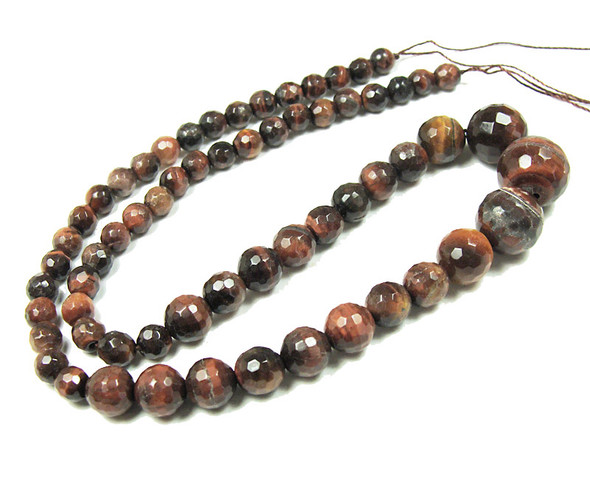 6-14mm Red Tiger Eye Faceted Graduated Round Beads