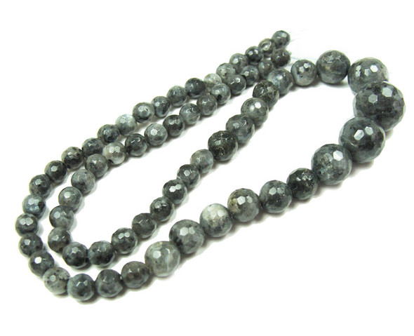 6-14mm Dark Labradorite Faceted Graduated Round Beads