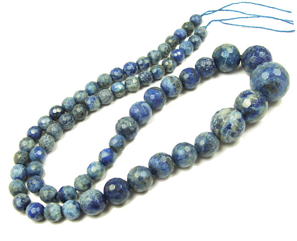 6-14mm Lapis Faceted Graduated Round Beads
