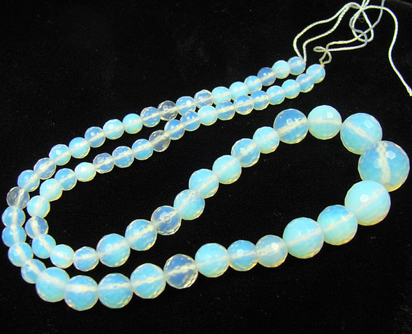 Glass Faceted Graduated Round Beads 6-14mm Opalite Faceted Graduated Round Beads