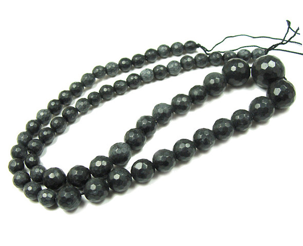 6-14mm Black matte agate faceted graduated round beads