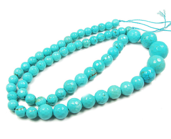 6-14mm Turquoise Howlite Faceted Graduated Round Beads