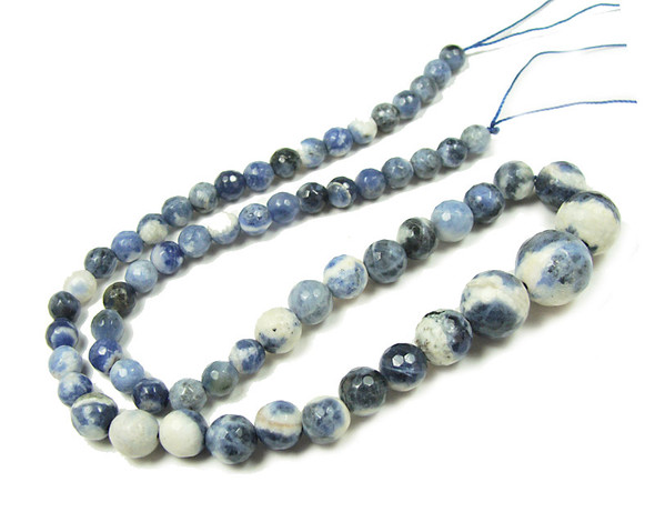 6-14mm Sodalite Faceted Graduated Round Beads