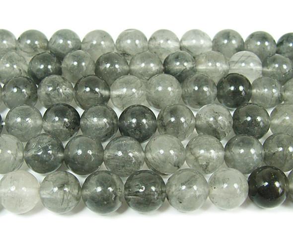 Cloud grey quartz smooth round beads