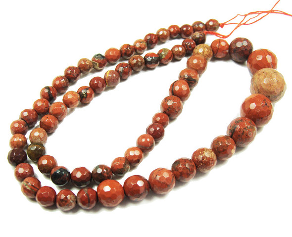 6-14mm Red jasper faceted graduated round beads