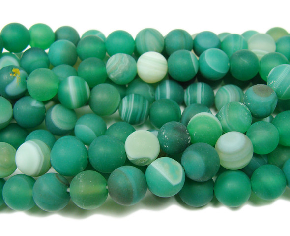 6mm  15.5 inch Light green striped matte agate round beads