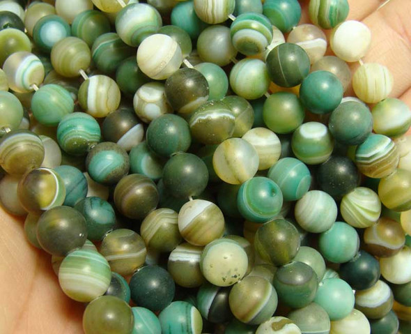 8mm 15.5 Inch Dark Green Striped Matte Agate Round Beads