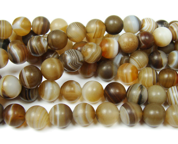 10mm  15.5 inch Madagascar agate matte striped round beads